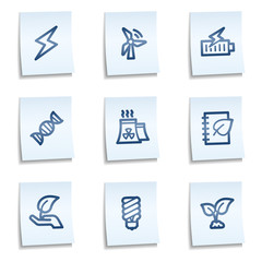 Ecology web icons set 5, blue notes