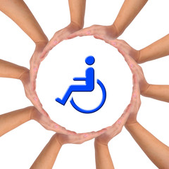 Conceptual image, help and care for handicapped person.