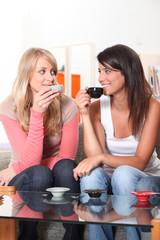 Girls drinking a coffee