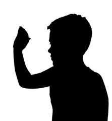 Isolated Boy Child Gesture High 5 Wave