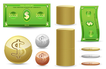 set of fake gold silver bronze coins and bill