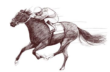 Photo sur Aluminium Art Studio horse and jockey