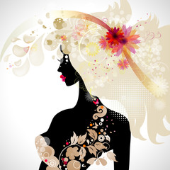 Aluminium Prints Floral woman abstract decorative composition with girl