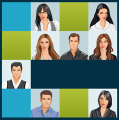 Template with a group of business and office people photos