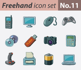 Freehand icon set - multimedia