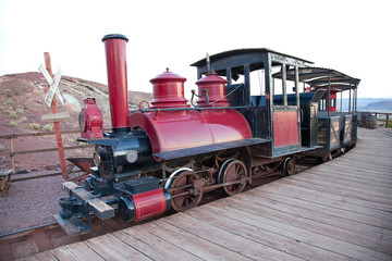 Vintage locomotive with carriage