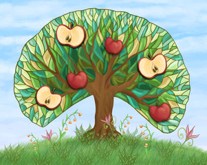 apple tree with fruits on hill