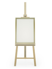 Wooden easel with blank picture