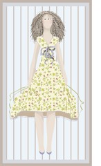 Greeting card with a doll. The beautiful image of the girl.