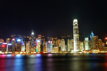 Night view of the Victoria Harbour