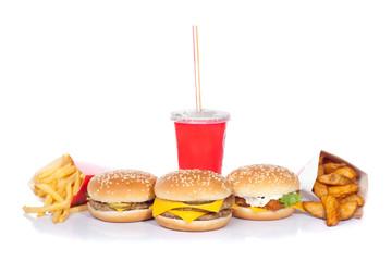 fast food set (focus on central burger)