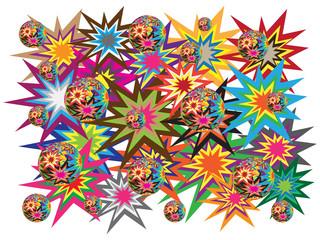 Explosions colorful vectors