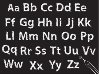 pencil or charcoal chalk alphabet letter set
