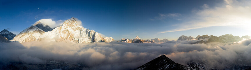 Panorama of Everst and Nuptse from Kala Patthar