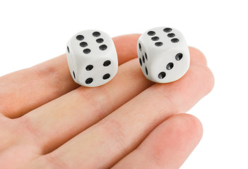 Two dices in hand