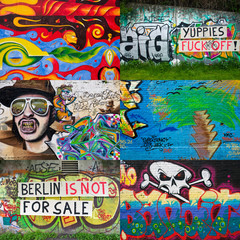 Deurstickers Graffiti collage Berlin Graffiti Collage