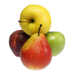 Three apples and pear on a white background