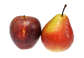Apple and pear on a white background