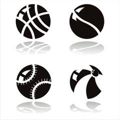 set of 4 black sport balls icons