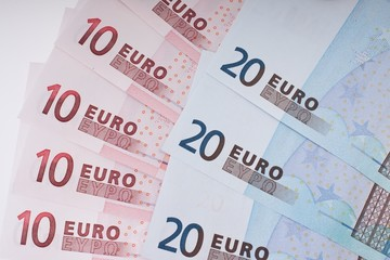 Close up of european Euro bank notes