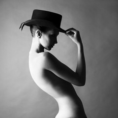 Naked lady with hat