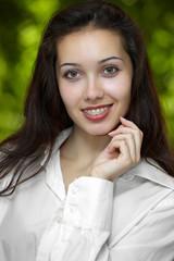 model with braces