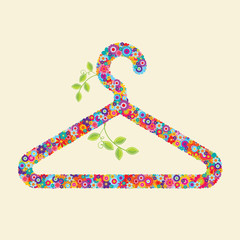 Clothes hanger made of flowers and branches