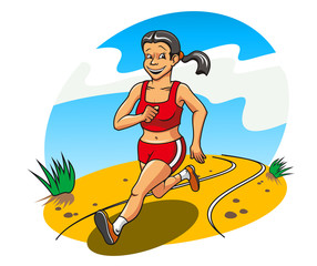 Happy running woman