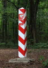 Republic of Poland border sign at forest