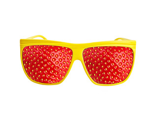 Yellow funny sunglasses with strawberries isolated on white