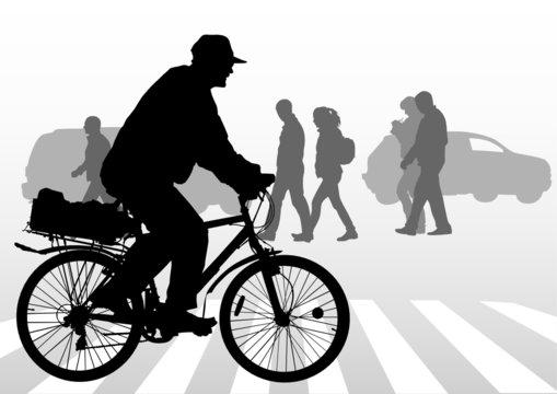 Cyclist on crosswalk