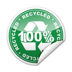 Pegatina 100% Recycled con reborde