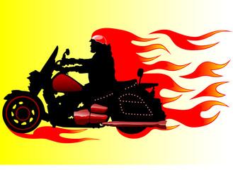 Keuken foto achterwand Motorfiets Fire motorcycle