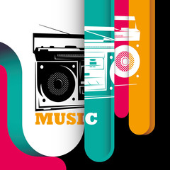 Illustrated modern background with stylized radio.