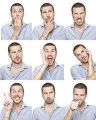 young man face expressions composite isolated on white