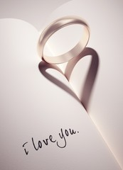 heartshadow with rings - i love you - card