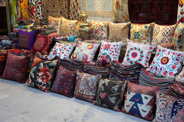 Cushions and Carpets shop in Istanbul, Turkey
