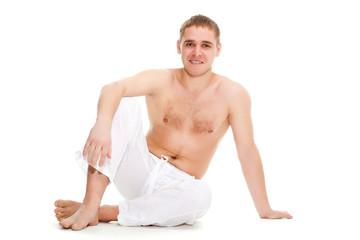 man wearing white pants