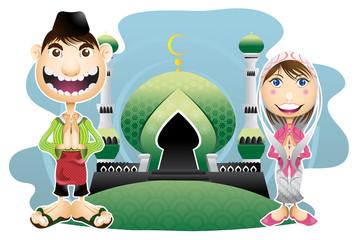 Moslem islam eid mubarak celebration day