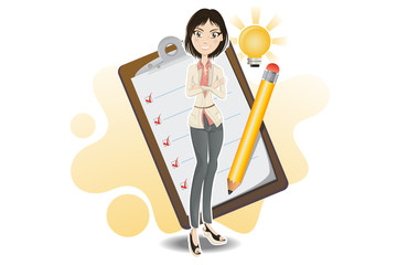 smart business woman done with her checklist