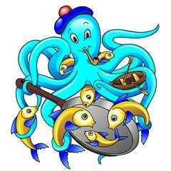 Polpo e Pesci Cartoon-Octopussy and Fishes-Vector