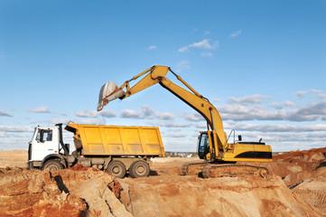 track-type loader excavator and tipper dumper