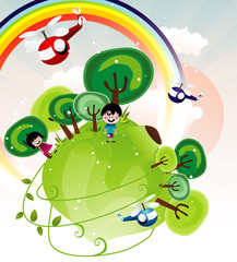 Poster Rainbow fantasy landscape with kids vector