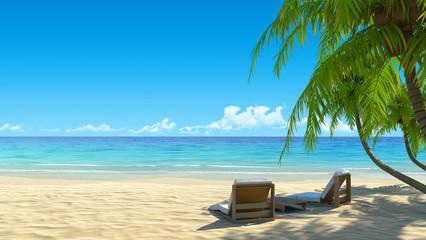Two stylish beach chairs on idyllic tropical white sand beach