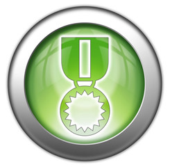 "Green glossy 3D effect button ""Award Medal"""
