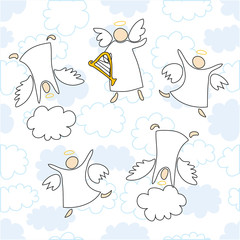 angels playing music and dancing