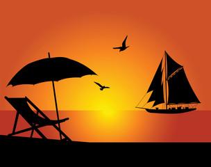 The beach and yacht