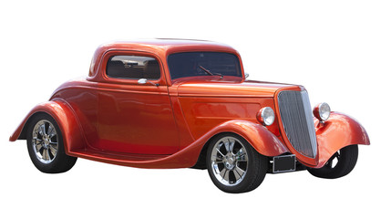 Aluminium Prints Old cars American hot rod isolated on white