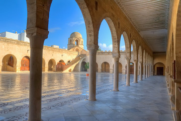 Foto op Plexiglas Tunesië Courtyard of the Great Mosque in Sousse
