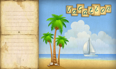 Card with illustration of sailing boat and palm